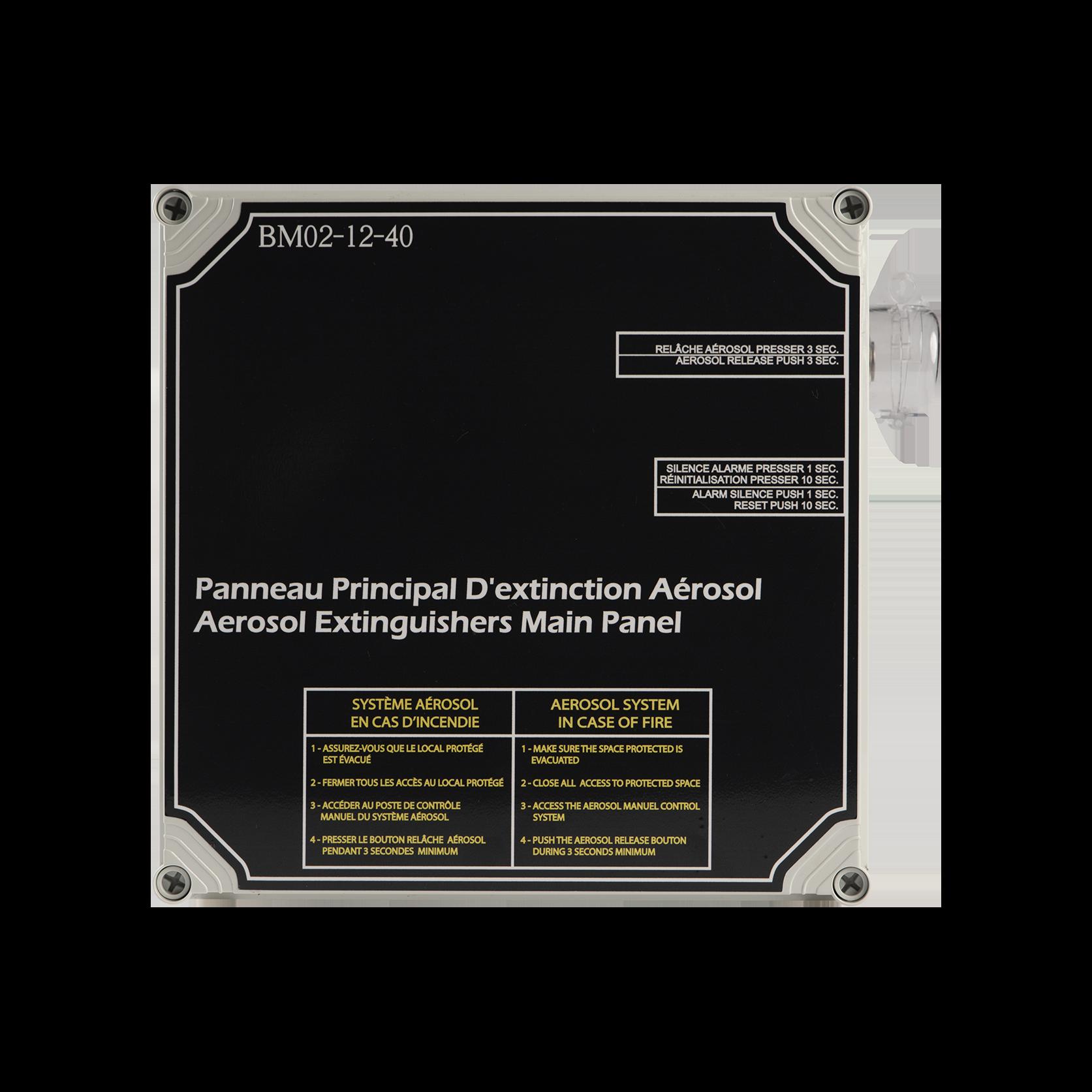 Front photo of the BM02-12-40 aerosol extinguishing main panel
